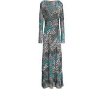 Metallic crochet-knit maxi dress