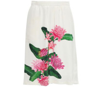 Elisa Floral-print Crepe Skirt Ivory