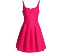 Pleated Cotton And Silk-blend Mini Dress Fuchsia