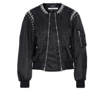 Crystal-embellished shell bomber jacket