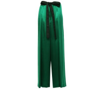 Belted Pleated Silk-satin Wide-leg Pants Emerald