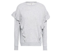 Agnia Ruffle-trimmed French Cotton-blend Terry Sweatshirt Light Gray