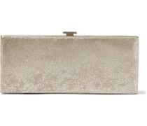 Flat Minaudiere Metallic Suede Box Clutch Gold Size --