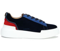 Color-block Suede And Velvet-paneled Sneakers Royal Blue