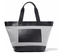 Leather-paneled canvas tote