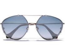 Aviator-style Silver-tone And Acetate Sunglasses Silver Size --