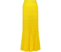 Smocked Crepe Maxi Skirt Bright Yellow