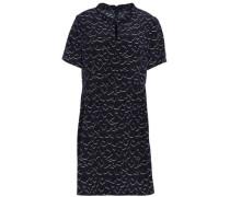 Pleated printed silk crepe de chine mini dress