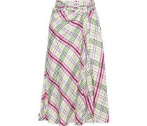 Moore Tie-front Checked Silk-twill Midi Skirt Off-white