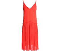 Ruffle-trimmed Crinkled Georgette Midi Slip Dress Coral