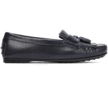 Fringed Snake-effect Leather Loafers Navy