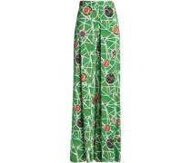 Pleated printed crepe wide-leg pants