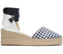 Kea Leather-trimmed Gingham Canvas Espadrilles Navy