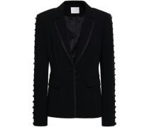 Button-detailed crepe blazer