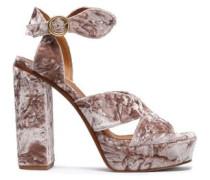Crushed-velvet Platform Sandals Antique Rose