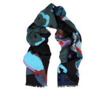Flocked printed wool scarf