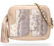 Karung-paneled tasseled leather shoulder bag