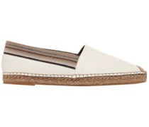 Grosgrain-trimmed Textured-leather Espadrilles White