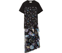 Cotton-jersey And Floral-print Crinkled Silk-chiffon Top Black