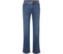 High-rise Straight-leg Jeans Dark Denim  7