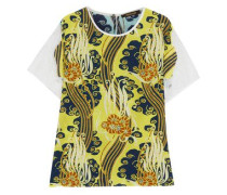 Lace-trimmed printed silk crepe de chine T-shirt