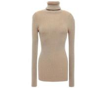 Ribbed Stretch-knit Turtleneck Sweater Sand Size 0