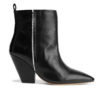 Landy Frayed Textured-leather Ankle Boots Black
