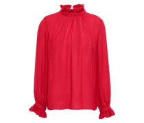 Gathered Ruffle-trimmed Crepe Blouse Red