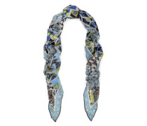 Printed Cashmere And Silk-blend Scarf Light Blue Size --