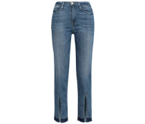Cropped Split-front Mid-rise Straight-leg Jeans Mid Denim  4