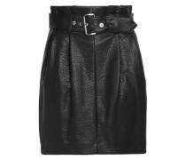 Belted faux textured-leather mini skirt