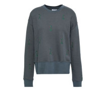 Embroidered French Cotton-blend Terry Sweatshirt Anthracite