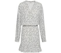 Gathered Fluted Crepe De Chine Mini Dress White