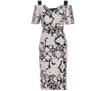 Awalton cold-shoulder crepe-paneled fil coupé cotton and silk-blend dress