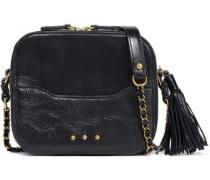 Tasseled Textured-leather Shoulder Bag Black Size --