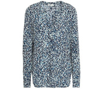 Leopard-print Silk Shirt Navy