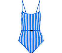 Belted Striped Swimsuit Blue