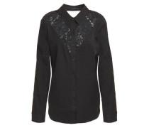 Woman Cutout Corded Lace-paneled Twill Shirt Black