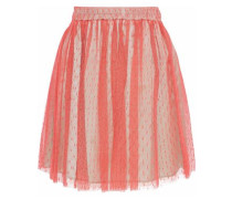 Pleated Point D'esprit Mini Skirt Coral