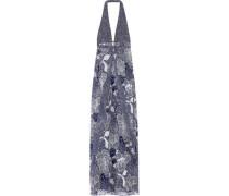 Fantasia Printed Silk-chiffon Halterneck Maxi Dress Midnight Blue