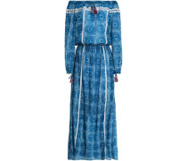 Off-the-shoulder gathered printed cotton-gauze maxi dress