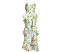 Ruffled Floral-print Duchesse Satin Twill Gown Sky Blue Size 12