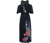 Farewell cold-shoulder embroidered lace midi dress