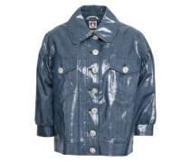 Crystal-embellished Coated Cotton-blend Jacket Navy