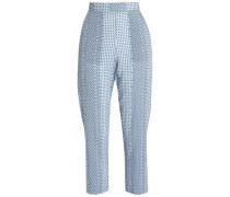 Hilary cropped checked woven straight-leg pants
