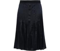 Pleated Satin-twill Skirt Black
