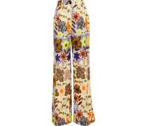 Tamar Vi floral-print satin-twill wide-leg pants
