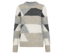 Jeany Color-block Alpaca-blend Sweater Cream