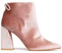 Bow-detailed Velvet Ankle Boots Pastel Pink