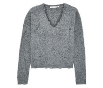 Distressed Mélange Cashmere Sweater Gray